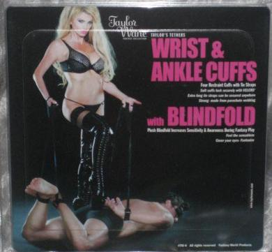 4 restraint cuffs with tie straps and a blindfold