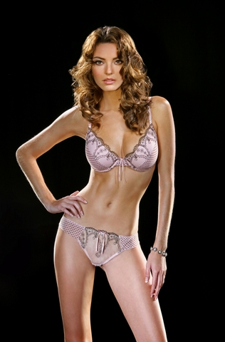 Pink brown polka dot padded bra with matching thong. Sizes: 32 D / XL