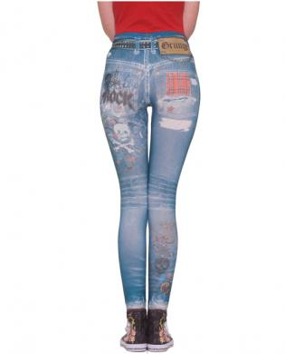 Grunge graphic jean leggings – blue xs/s