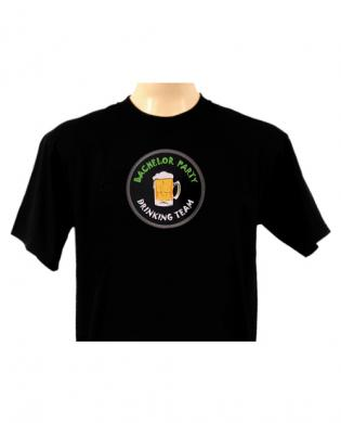 Light-up bachelor party drinking team t-shirt black large