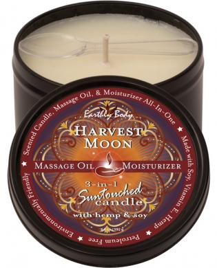 Earthly body 3 in 1 candle &#8211; 6 oz round black tin harvest moon