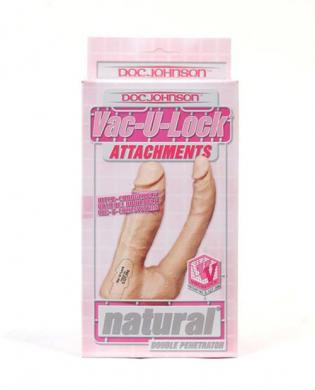 Vac-U-Lock Double Penetrator, Natural