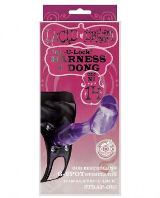 Lucid dream vac-u-lock harness and dong – purple