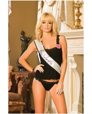Cami top and thong w/lace trim, bachelorette sash and pin black o/s