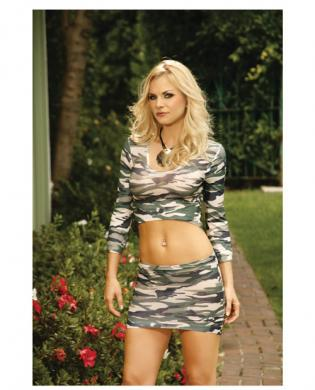Long sleeve cami top and mini skirt camouflage o/s