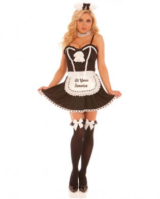 4 pc at your service dress, apron w/light up at your service, neck piece and head piece black md