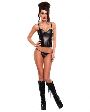 Liquid onyx chain corset w/g-string black qn