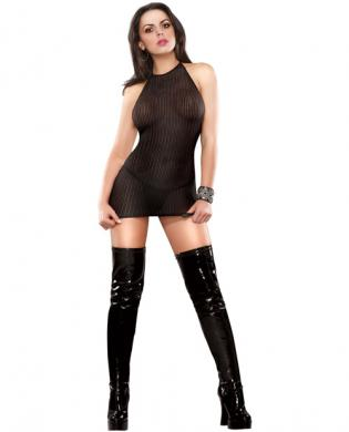 Herringbone net halter dress and thong black qn
