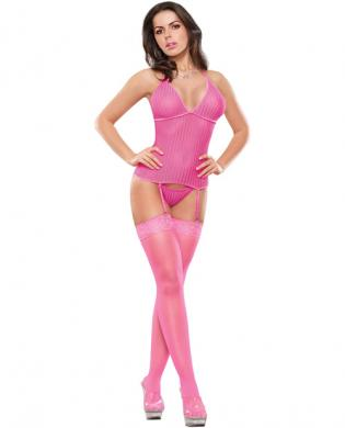 Herringbone net merry widow w/garters and thong pink l/xl