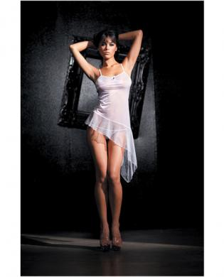 Asymmetrical stretch mesh babydoll and g-string white o/s