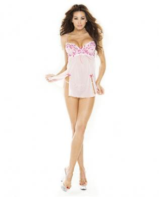 Hanging low back babydoll w/princess seam slits and g-string pink 2x