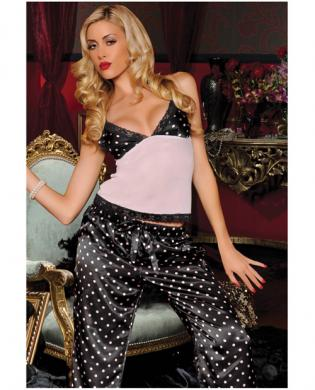 Hanging 2 pc polka dot satin and mesh cami and elastic drawstring pants black/ pink lg