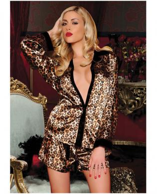 Hanging 2 pc satin collared sleep shirt and drawstring boxer shorts leopard md