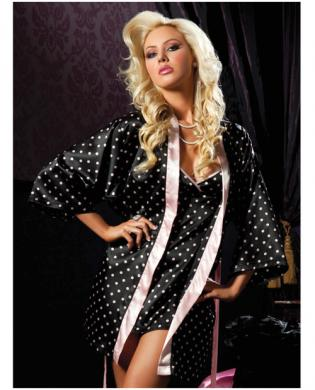 Hanging 2 pc polka dot satin chemise and satin robe black sm