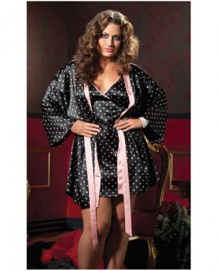 Hanging 2 pc polka dot satin chemise and satin robe black 1x/2x