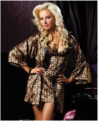 Hanging 2 pc satin chemise and satin robe leopard lg