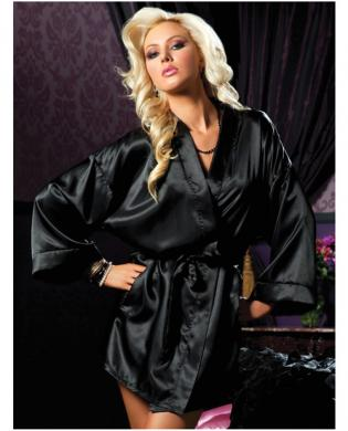 Hanging satin mid thigh length robe w/side pockets and sash black s/m