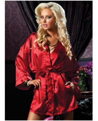 Hanging satin mid thigh length robe w/side pockets and sash red m/l