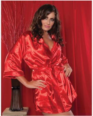 Hanging satin mid thigh length robe w/side pockets and sash red 1x-2x