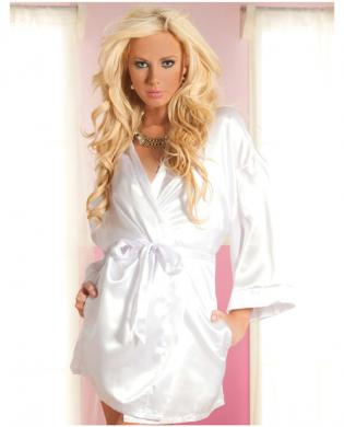 Hanging satin mid thigh length robe w/side pockets and sash white s/m