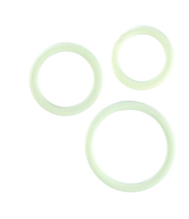 White Rubber Cock Ring – 3 pc Set
