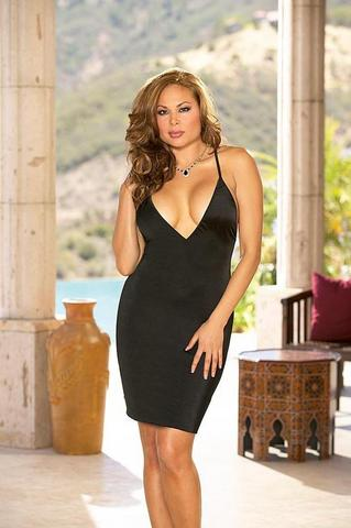 Chemise and Thong Black Os Queen